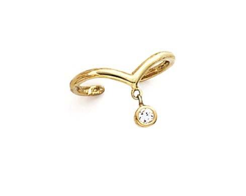 14k Yellow Gold Dangle Cubic Zirconia Cubic Zirconia Toe Ring