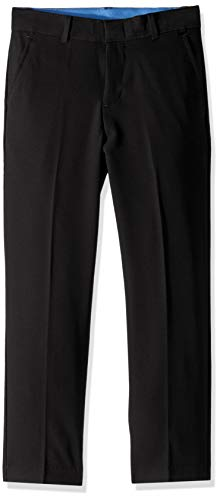 IZOD Boys' Big Bi-Stretch Flat Front Dress Pant, Black Twill 8