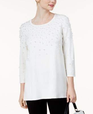 Alfani Sweater - Alfani Womens Embellished Long Sleeves Pullover Sweater Black M