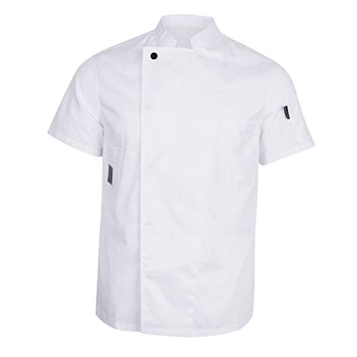 Fenteer Men's Women's Short Sleeve Chef Jacket Coat Restaurant Cook Waiter Uniform - White, XL