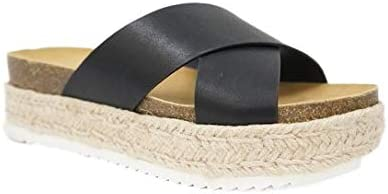 soda Womens Coky Casual Espadrilles Trim Rubber Sole Flatform Studded Wedge Buckle Ankle Strap Open Toe Sandals (11)