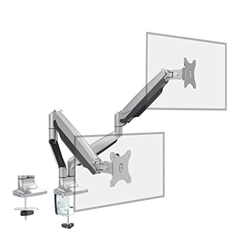 Dual Monitor Stand Mount - Fully Adjustable Aluminum Gas Spring Double Arm Desk Mount, Tilts, Swivels - Computer Riser with Clamp & Grommet Base Fits Two 13-32 Inch Screens - (Spring Tension Screen)