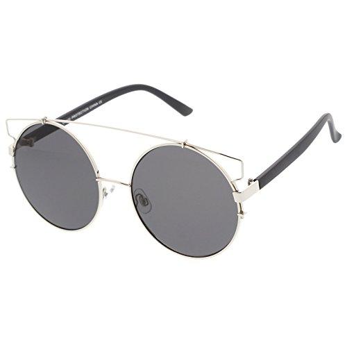 sunglassLA - Oversize Open Metal Double Nose Bridge Round Flat Lens Aviator Sunglasses 53mm (Silver Matte Black / - Mykita Frames