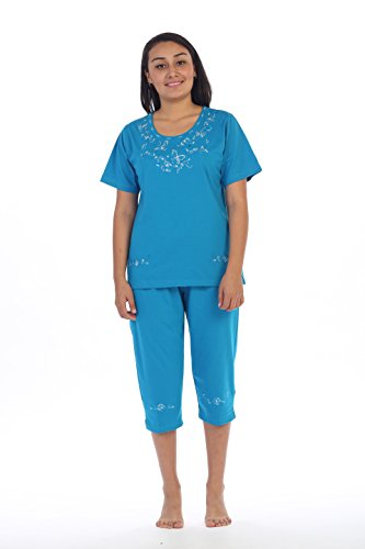 unik Women's Short Sleeve Embrodiered Butterflies Blouse and Matching Capri Set, Turquoise Size X-Large