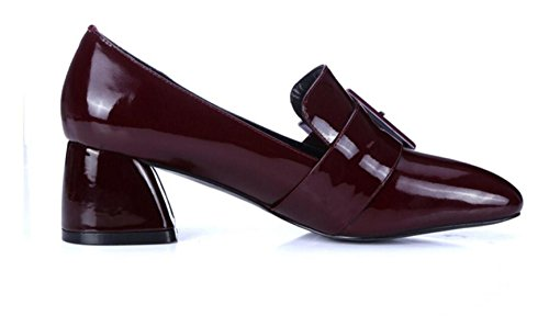 WineRed De Zapatos MUYII Zapatos Cuadrada Mujer Tacón Grueso Cuero De Cabeza De Casuales Hebilla IOw4x