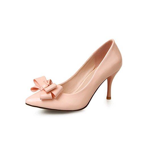 Odomolor Damen Stiletto Rein Ziehen auf Spitz Schließen Zehe Pumps Schuhe, Pink, 42