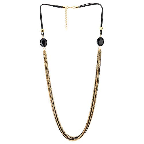 (COOLSTEELANDBEYOND Gold Black Statement Necklace Multi-Strand Long Chains with Black Gem Stone Charms Pendant, Dress)