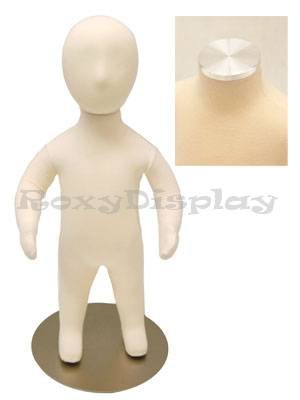 - (JF-CH06M) ROXY DISPLAY Child Body Form 6 month white jersey form cover,with head, flexible arms, fingers & legs, metal base
