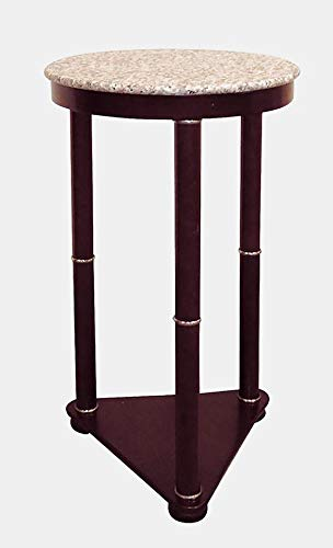 (Wood End Table with Marble Top and Shelf - End Table with Metallic Ring Accents - Cherry)