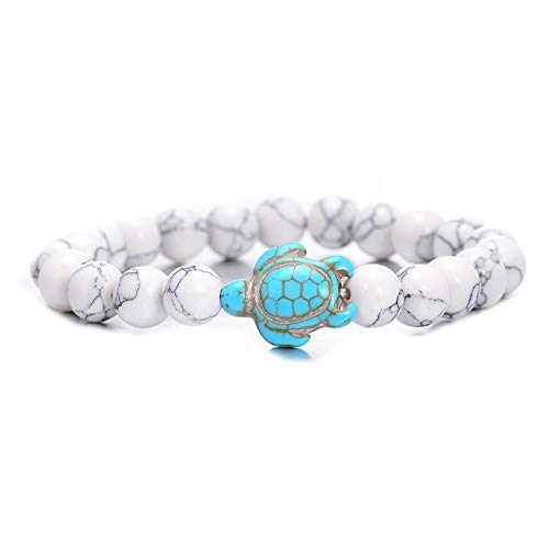Zozu Summer Style Sea Turtle Beads Bracelets For Women Men Classic 8MM Blue Natural Stone Elastic Friendship Bracelet Beach Jewelry (white)