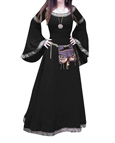 (Zimaes-Women Medieval Costume Horn-Sleeve Halloween Elven Maxi Party Dress Black)