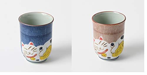 Taza de te japonesa Hakusan Yunomi, juego de 2 tazas, importacion japonesa, gato de la fortuna Maneki Neko, azul y rosa 369-3 369-4