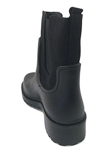 Ankle SJD Band Boots Snow Elastic Khaki Rain A Shoes Fashion Women's Black Garden Rubber Brown Short Goring Black f7qWSv