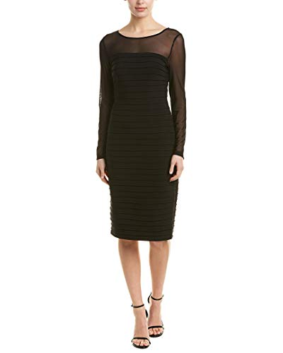 Adrianna Papell Women's Matte Jersey Pintucked Dress, Black, 6