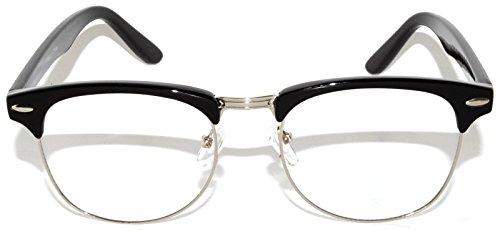 Classic Black-Silver Half Frame sunglasses Clear Lens Men Women - Men Glasses Framed Clear