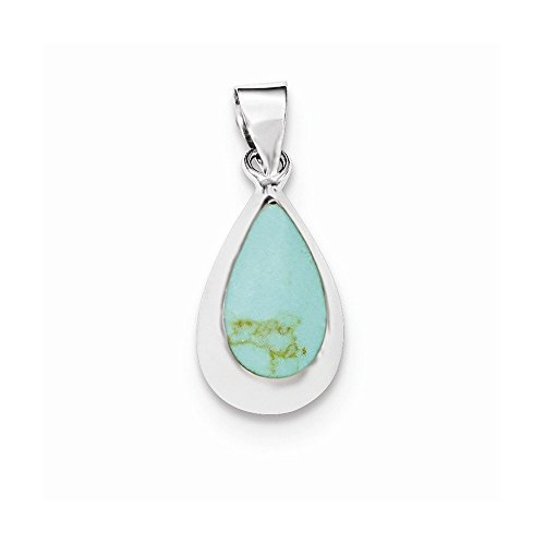 (Sterling Silver Polished Synthetic Turquoise Teardrop Pendant)