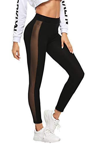 - SweatyRocks Women's Mesh Panel Side High Waist Leggings Skinny Workout Yoga Pants (X-Large, 2-Black)
