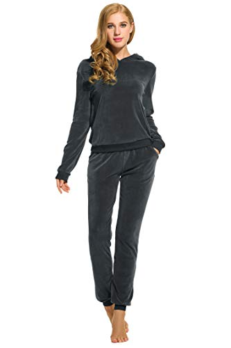 Hotouch Womens Velour Tracksuit Hooded Top and Matching Pants Charcoal XL (Lounge Wear For Women)