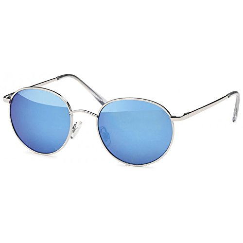 Chic-Net Sonnenbrille rund John Lennon Stil 400UV schwarz bunt verspiegelt zweifarbig lila 9a1qFFI6