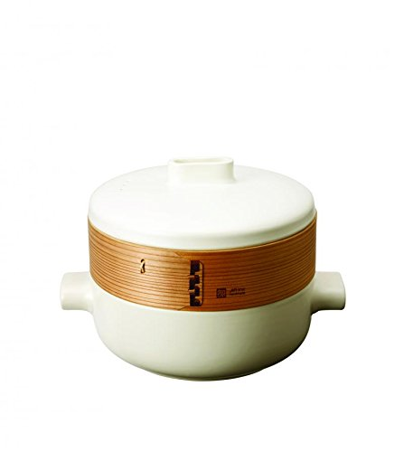 JIA Inc. Steamer Set - Personal Set (Ceramic Steamer Pot and Lid + Cedar Wood Basket) by JIA Inc.