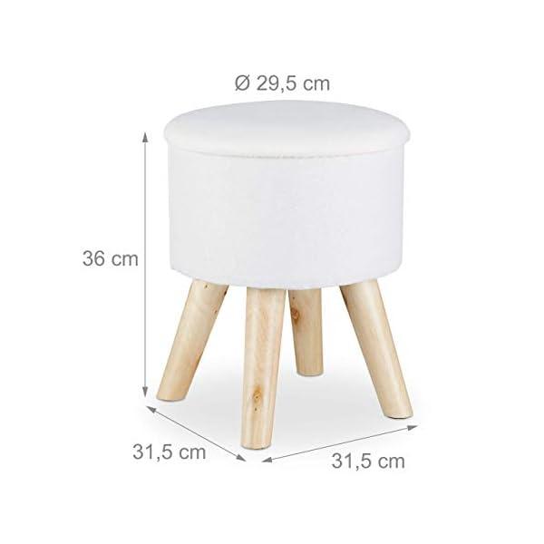 Relaxdays Tabouret rond avec rangement, Couvercle amovible, Pieds en bois moderne HxlxP: 36 x 31,5 x 31,5 cm, blanc