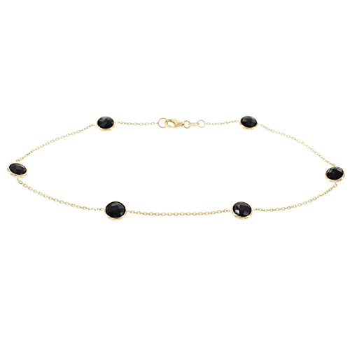 14k Yellow Gold Ankle Station Bracelet With Black Onyx Gemstones (9 - 11 inches) by amazinite