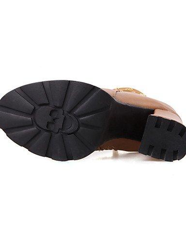 Schwarz Kunstleder Damen Stiefel us7 black Büro 5 cn38 Modische eu38 XZZ Lässig Rundeschuh 5 uk5 Stiefel Kleid Blockabsatz Gelb Rot AqgXwC