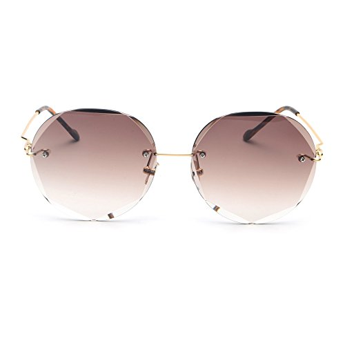 Femenina Círculo de Don del Redondas Gafas TL sin Marrón Gafas Reborde Sol Sunglasses Verde de Verano UV400 Rosa desapareció Mujeres f1Zqqw