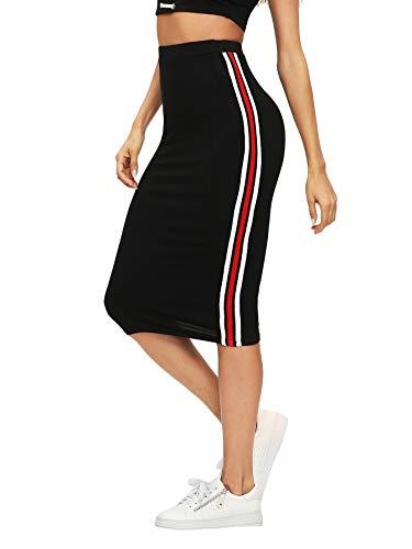Verdusa Women's Casual Elastic Waist Striped Side Bodycon Pencil Skirt Black XL