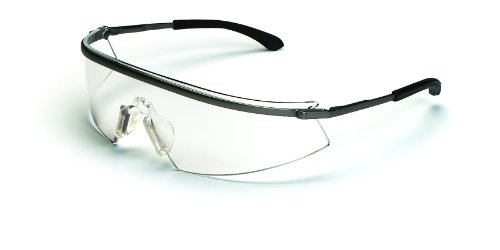 MCR Safety T3110AF Triwear Metal Safety Glasses with Platinum Frame and Clear Anti-fog - La Frames Ink Glasses