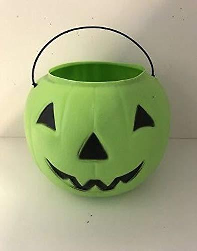 Halloween Pumpkin Jack O Lantern Candy Bucket (Green) - Bucket Green