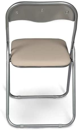 Esidra Pieghevoli Imbottite Poltroncine Richiudibili Set di 6 Salvaspazio Nero Sedie Metallo e PVC UNICA