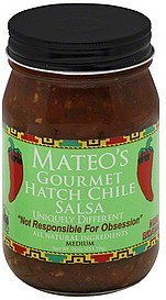 Mateo's Gourmet Salsa 16oz Glass Jar (Pack of 3) Select Heat Level Below (Hatch Chile - Medium) by - Glasses Online Select
