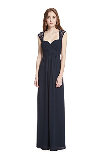 Samantha Paige Sweetheart Neckline Lace Shoulder Strap Pleated A-line Chiffon Formal Dress,Navy,4 (Cross Criss Sweetheart Bodice)