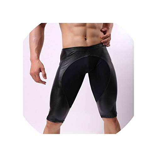 Running Pants Men Compression Fitness Legging Mens Spandex Tights Sportswear for Men Patchwork Gym Muscle Training Trousers,Black,L (Iron On Knee Patches For Snow Pants)