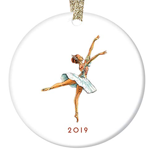 "Ballerina Dance Christmas Ornament 2019 Pretty Ballet Dancer Gift From Parent to Child Friend Adult Dancing Instructor Ceramic Keepsake Present 3"" Flat Porcelain w Gold Ribbon & Free Gift Box OR00029"