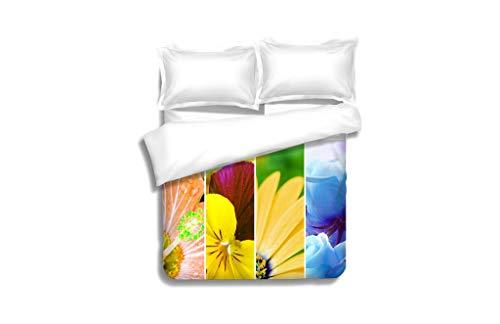 (MTSJTliangwan Duvet Cover Set Rainbow Stripes Flowers Wallpaper Large XXXL Image 3 Piece Bedding Set with Pillow Shams, Queen/Full, Dark Orange White Teal)