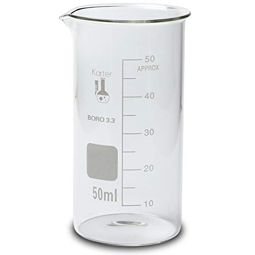 50ml Beaker, Tall Form, 3.3 Borosilicate Glass, Single Scale, Karter Scientific 213F6 (Pack of 12)