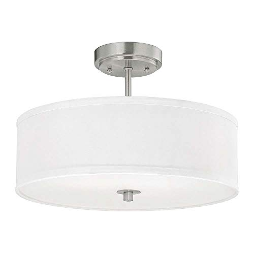 - Modern Semi-Flush Light with White Drum Shade - 16-Inches Wide