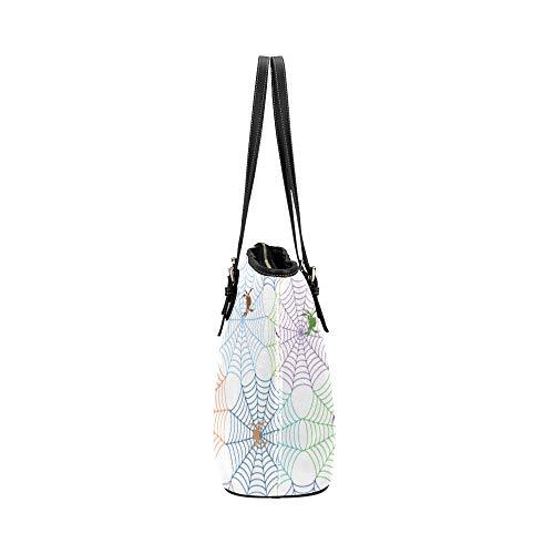 Handväskor med tryck tecknad insekt krypa djur spindel läder handväskor väska orsaksala handväskor dragkedja axel organiserare för dam flickor kvinnor axelväska kuvertväska