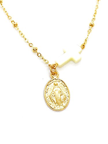 - LESLIE BOULES Miraculous Medal Necklace 18K Gold Plated Chain Shell Cross Pendant