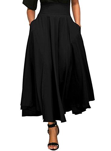 Dokotoo Jupe Femme Longue Haute Taille Casual Pliss Maxi Belted Jupe de Plage avec Deux Poches Noir