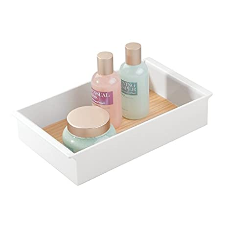 mDesign Organizador de maquillaje - Caja de maquillaje profesional con elegante diseño en madera - Caja para guardar maquillaje en tocador y cómoda en color ...