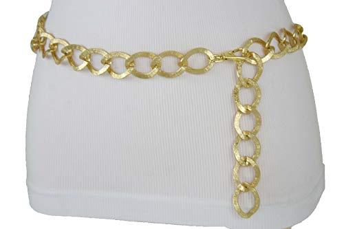 Link Chain Fancy - TFJ Women Fashion Narrow Belt Hip High Waist Skinny Gold Metal Chain Links M L XL
