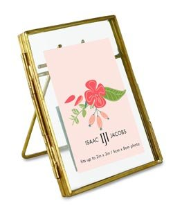 Isaac Jacobs Brass and Glass Floating Frame with Sliding Locket Closure (2x3, Antique Gold) (Glass Floating Frame)