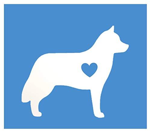Siberian Husky Little Heart *J597* 6 inch vinyl dog decal (Kennel Husky Club Siberian)