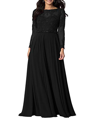 Aofur Womens Long Sleeve Chiffon Party Evening Dress Formal Wedding Prom Cocktail Ladies Lace Maxi Dresses (X-Large, Black)