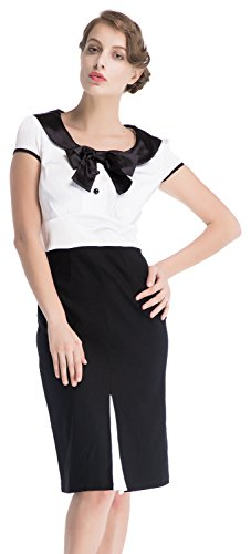 MUXXN Women's Audrey Hepburn 50s Vintage Elegant Dress (2XL, Black&White)