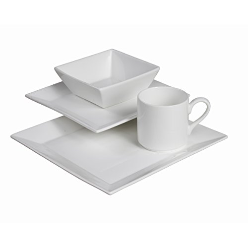 Fortessa Fortaluxe SuperWhite Vitrified China Dinnerware, Plaza 16-Piece Place Setting, Service for (Vitrified China Restaurant)