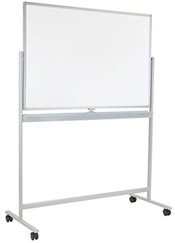 Mobile Dry Erase Whiteboard - Rolling White Board with Casters and Stand, 48x32 Inches Reversible Double-Sided Dry Erase Board, Wall Mountable with Accessory Kit